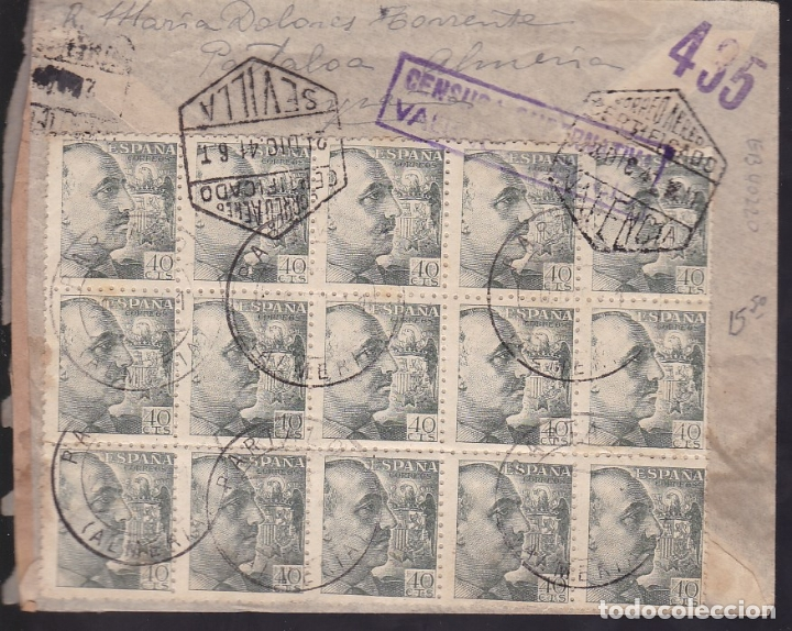 Sellos: F6-36- Carta PARTALOA (Almería) - ARGENTINA. 1941. Espectacular Franqueo 21 Sellos. TASADA - Foto 2 - 186372986