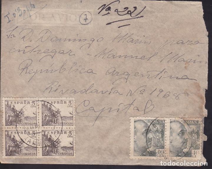 F6-36- CARTA PARTALOA (ALMERÍA) - ARGENTINA. 1941. ESPECTACULAR FRANQUEO 21 SELLOS. TASADA (Sellos - España - Estado Español - De 1.936 a 1.949 - Cartas)