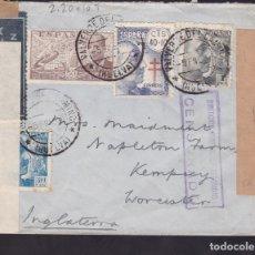 Sellos: F6-36- CARTA VALVERDE DEL CAMINO HUELVA -INGLATERRA 1941. TUBERCULOSOS . CENSURAS. Lote 186373066