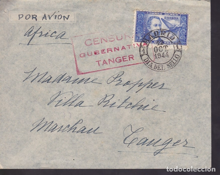 F6-36- CARTA MADRID-TANGER. 1944. PRIMER DIA THEBUSSEM. CENSURA TANGER.LUJO (Sellos - España - Estado Español - De 1.936 a 1.949 - Cartas)