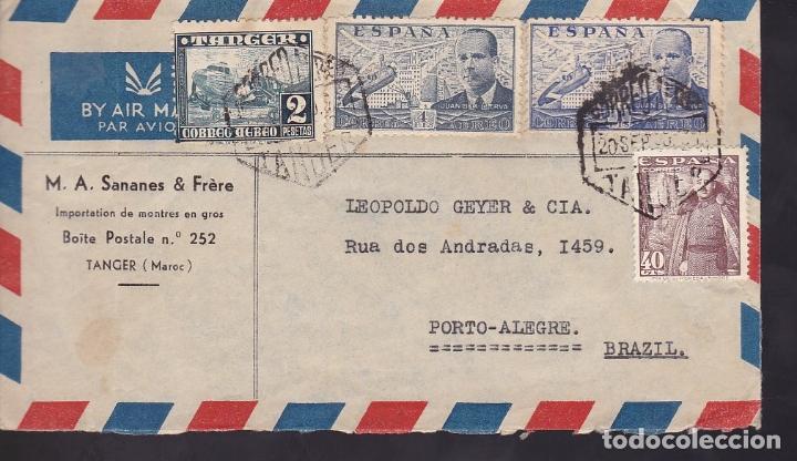 F6-38- CARTA TANGER- BRASIL 1950. FRANQUEO MIXTO (Sellos - España - Estado Español - De 1.936 a 1.949 - Cartas)