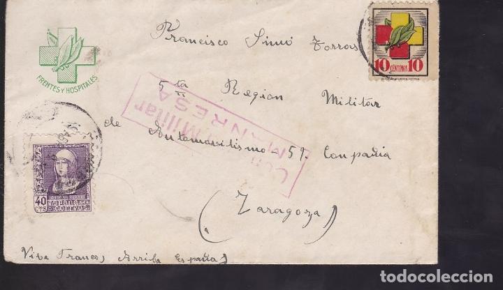 F6-39- RARA CARTA MEMBRETE FRENTES Y HOSPITALES . MANRESA- ZARAGOZA 1939. CENSURA (Sellos - España - Estado Español - De 1.936 a 1.949 - Cartas)