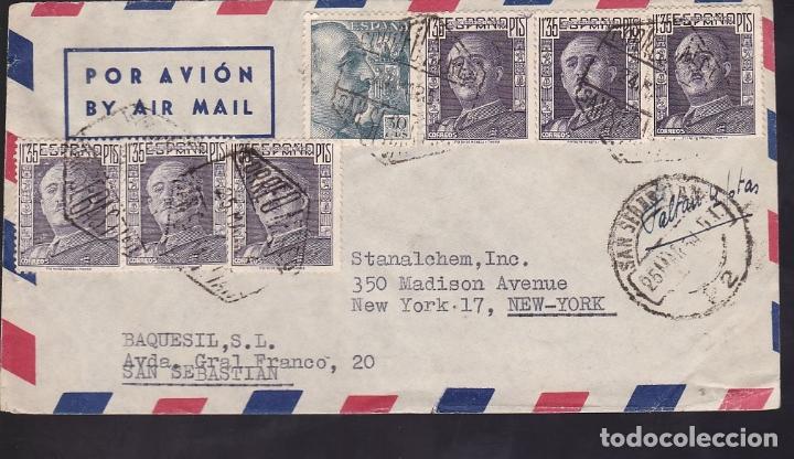 F6-40-CARTA SAN SEBASTIAN -USA 1954. FRANQUEO MÚLTIPLE FRANCO 1.35 PTAS (6). RARO (Sellos - España - Estado Español - De 1.936 a 1.949 - Cartas)