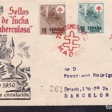 Sellos: F6-42-CERTIFICADO MADRID- BARCELONA 1950. PRIMER DÍA TUBERCULOSOS LUJO. Lote 186464120
