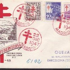 Sellos: F6-43-CERTIFICADO MADRID- BARCELONA 1947. PRIMER DÍA TUBERCULOSOS LUJO. Lote 186464122