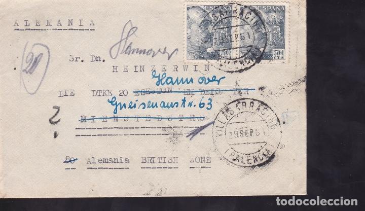 F6-44- CARTA BAHILLO VILLASARRACINO (PALENCIA)- ALEMANIA (ZONA BRITÁNICA) 1951. REEXPEDIDA (Sellos - España - Estado Español - De 1.936 a 1.949 - Cartas)