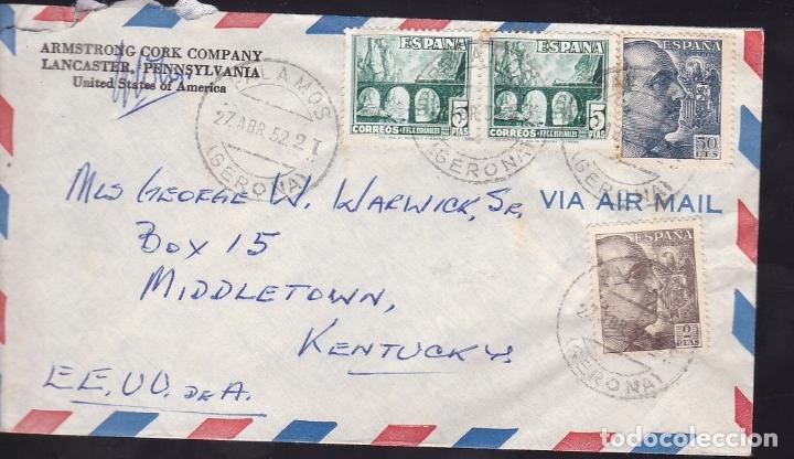 F6-45- CARTA PALAMOS GERONA -USA 1952 (Sellos - España - Estado Español - De 1.936 a 1.949 - Cartas)