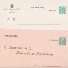 Sellos: GPC-9- FRANCO MOTA ENTERO FISCAL COMPLETO. 2 SOBRES + DOCUMENTACIÓN . NUEVO. Lote 187169880