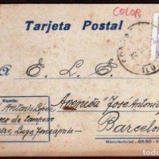 Sellos: GIROEXLIBRIS.- ESPAÑA.- TARJETA CIRCULADA POR EL PARROCO DE SAN PEDRO DE MEIRA (LUGO) A BARCELONA. Lote 187622358