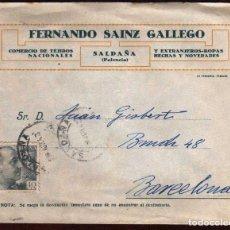Sellos: GIROEXLIBRIS.- CARTA COMERCIAL DE FERNANDO SAINZ CIRCULADA DE SALDAÑA (PALENCIA) A BARCELONA. Lote 187631363