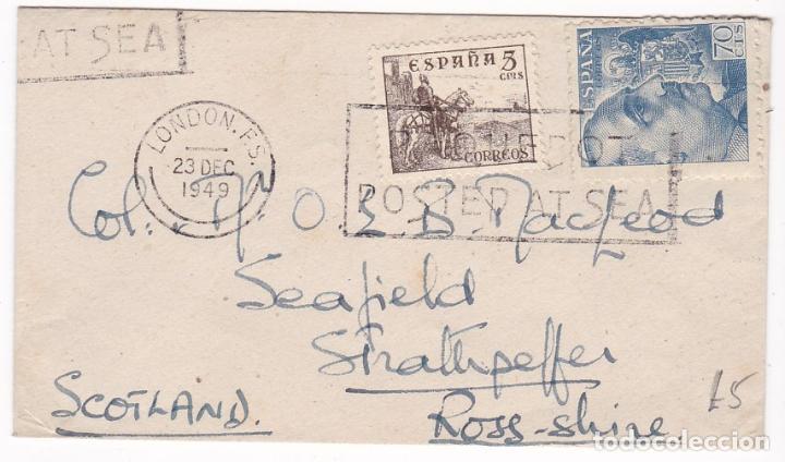 F7-22- SOBRE FRANCO MATASELLOS POSTED AT SEA LONDON 1949 (Sellos - España - Estado Español - De 1.936 a 1.949 - Cartas)