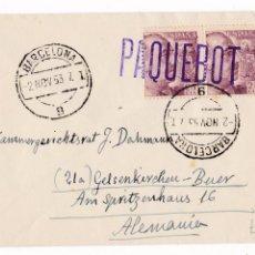 Sellos: F7-23- CARTA BARCELONA- ALEMANIA 1953 .MATASELLOS LINEAL PAQUEBOT FRANCO 1048A PAREJA . Lote 190894333