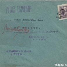 Sellos: CARTA CENSURA MILITAR VIVERO (LUGO) MARCA S.BARRO-FÁBRICA DE CHAVÍN DORSO VIÑETA ¡RARÍSIMA¡ CENSURA. Lote 191127932