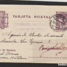 Sellos: ENTERO POSTAL Nº 81 -CENSURA CERVERA DEL RIO ALHAMA ( LA RIOJA )-AÑO 1938 DESTINO PAMPLONA. Lote 191127977
