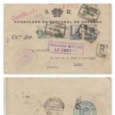 Sellos: GALICIA - LA CORUÑA CENSURA MILITAR -.CONSULADO PORTUGAL , MARCA OFICINA EXPORTACION FILAT - CARTA. Lote 191128351