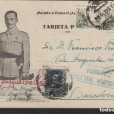 Sellos: TARJETA POSTAL PATRIÓTICA DE ZAMORA A BARCELONA AÑO 1939 CENSURA MILITAR ZAMORA MAT AMBULANTE DORSO. Lote 191128442