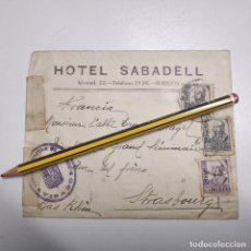 Sellos: SOBRE HOTEL SABADELL BURGOS 1938. Lote 191629872