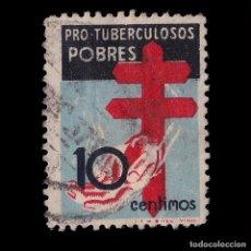 Sellos: 1937.PRO TUBERCULOSOS.10C NEGRO AZUL Y ROJO.USADO.EDIFIL 840. Lote 191927895