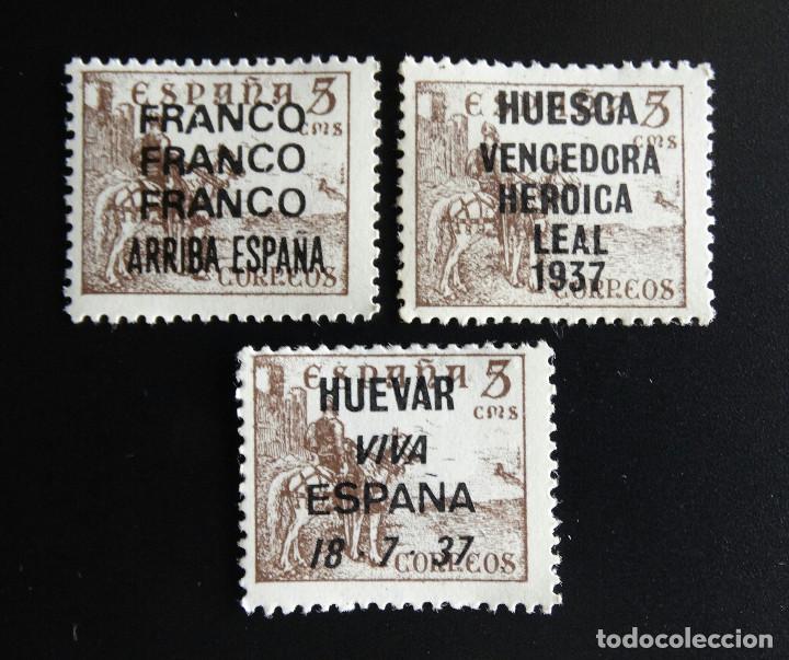 Sellos: ESPAÑA EDIFIL 1044 LOTE 11 SELLOS DIFERENTES SOBRECARGA PATRIOTICA FANTASIA NUEVOS CON TRES 1044t - Foto 2 - 191996993