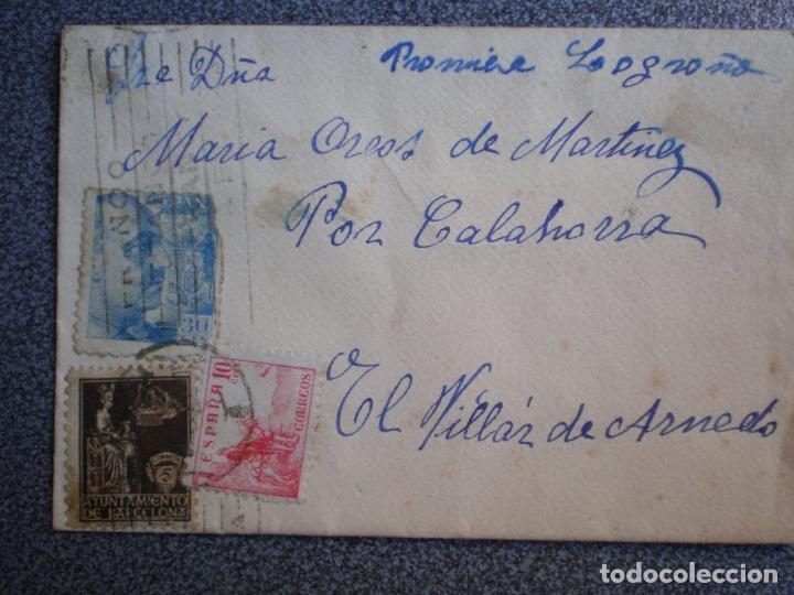 SOBRE CARTA CON CURIOSO FRANQUEO ENVIADA A EL VILLAR DE ARNEDO LA RIOJA (Sellos - España - Estado Español - De 1.936 a 1.949 - Cartas)