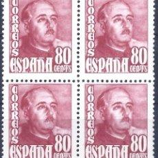 Sellos: EDIFIL 1023 GENERAL FRANCO 1954 (EXCELENTE BLOQUE DE 4). VALOR CATÁLOGO: 37 €. MNH **. Lote 192711431