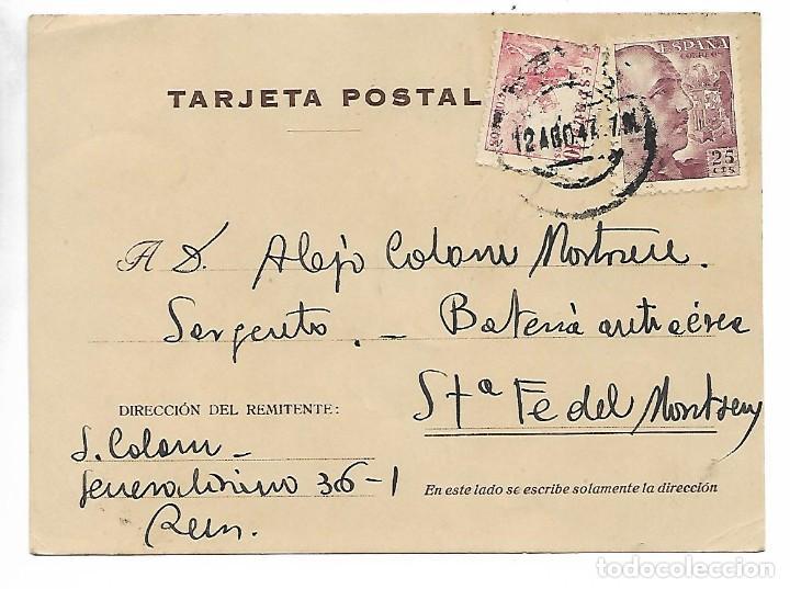 TARJETA POSTAL REINTEGRADA - 1-8-1947 (Sellos - España - Estado Español - De 1.936 a 1.949 - Cartas)