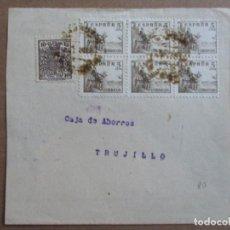 Selos: FRONTAL CIRCULADA 1938 DE CACERES A CAJA DE AHORROS DE TRUJILLO CON SELLO FISCAL. Lote 193047152