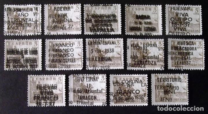 FANTASÍAS, SOBRECARGAS DIVERSAS EN EL SELLO EDIFIL Nº 1044, CATORCE SELLOS, LOS DE LA FOTOGRAFÍA. (Sellos - España - Estado Español - De 1.936 a 1.949 - Usados)