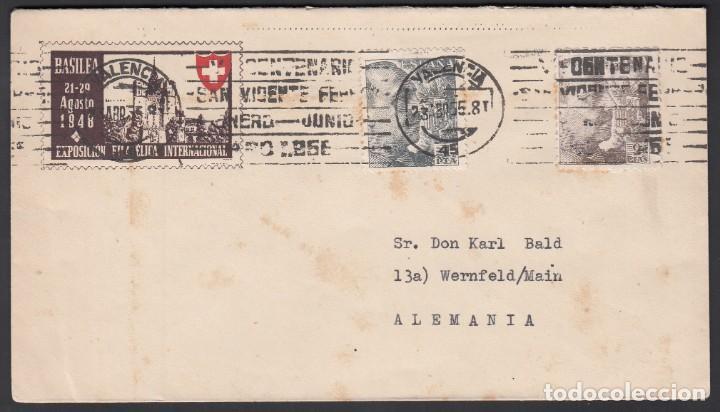 SOBRE EXPOSICIÓN FILATÉLICA INTERNACIONAL BASILEA, CIRCULADO DE VALENCIA A ALEMANIA, (Sellos - España - Estado Español - De 1.936 a 1.949 - Cartas)