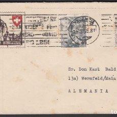 Sellos: SOBRE EXPOSICIÓN FILATÉLICA INTERNACIONAL BASILEA, CIRCULADO DE VALENCIA A ALEMANIA, . Lote 193741362