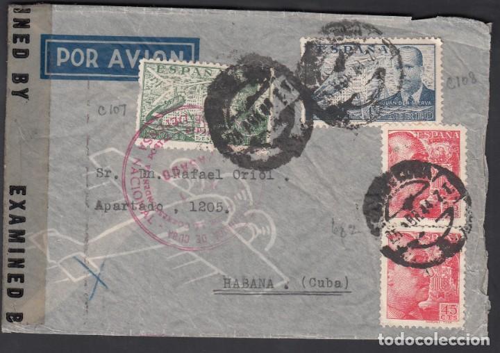 SOBRE POR AVIÓN, CIRCULADO BARCELONA A LA HABANA, MARCA MINISTERIO DE DEFENSA NACIONAL, CUBA (Sellos - España - Estado Español - De 1.936 a 1.949 - Cartas)