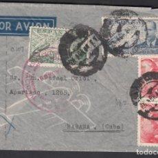 Sellos: SOBRE POR AVIÓN, CIRCULADO BARCELONA A LA HABANA, MARCA MINISTERIO DE DEFENSA NACIONAL, CUBA. Lote 193741917