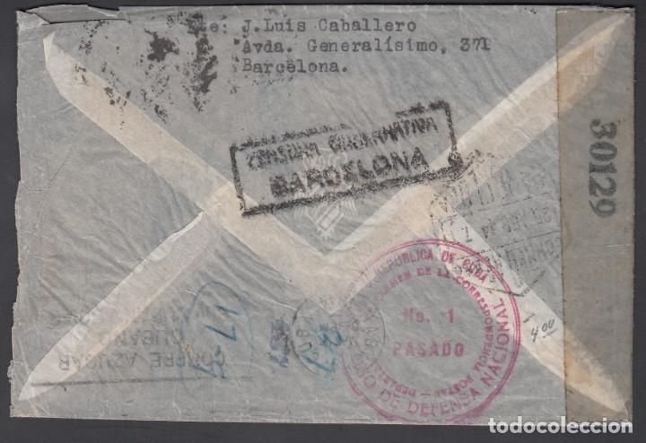 Sellos: Sobre POR AVIÓN, Circulado Barcelona a La Habana, Marca Ministerio de Defensa Nacional, CUBA - Foto 2 - 193741917