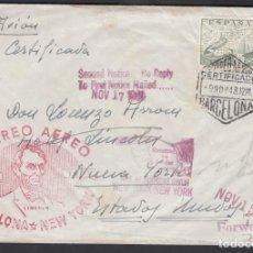 Sellos: SOBRE POR AVIÓN, MARCA PRIMER CORREO AÉREO BARCELONA-NEW YORK, MARCAS DE RETORNO . Lote 193742455