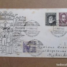 Selos: CIRCULADA 1949 DE EXPO FILATELICA SANTA CRUZ DE TENERIFE A MADRID CON SERIE COMPLETA . Lote 193941457