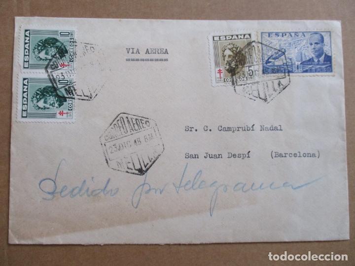 CIRCULADA 1948 DE COMANDANTE SEGUNDO MELILLLA A SANT JOAN DE ESPI BARCELONA (Sellos - España - Estado Español - De 1.936 a 1.949 - Cartas)