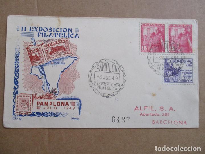 PAMPLONA NAVARRA 1949 EXPOSICION FILATELICA (Sellos - España - Estado Español - De 1.936 a 1.949 - Cartas)