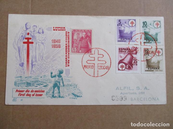 MADRID 1949 CIRCULADA LUCHA ANTITUBERCULOSA A BARCELONA CON SERIE COMPLETA PRIMER DIA (Sellos - España - Estado Español - De 1.936 a 1.949 - Cartas)