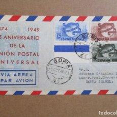 Sellos: SORIA 1949 CIRCULADA UNION POSTAL A SANTA ISABEL FERNANDO POO CON SERIE COMPLETA PRIMER DIA. Lote 193983928