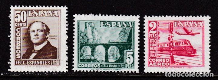 1948. CENTENARIO DEL FERROCARRIL SERIE COMPLETA NUEVA SIN FIJASELLOS EDIFIL Nº 1037/1039 (Sellos - España - Estado Español - De 1.936 a 1.949 - Nuevos)