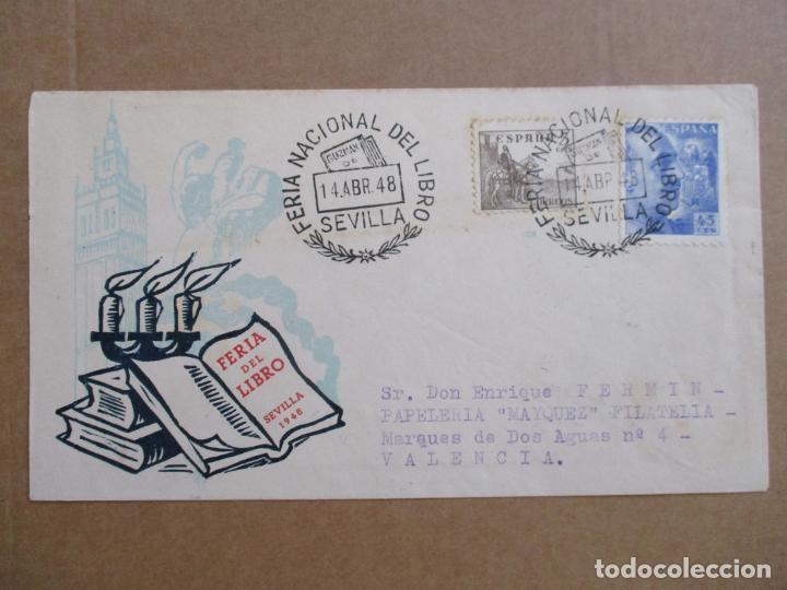 CIRCULADA 1948 DE FERIA LIBRO SEVILLA A VALENCIA (Sellos - España - Estado Español - De 1.936 a 1.949 - Cartas)