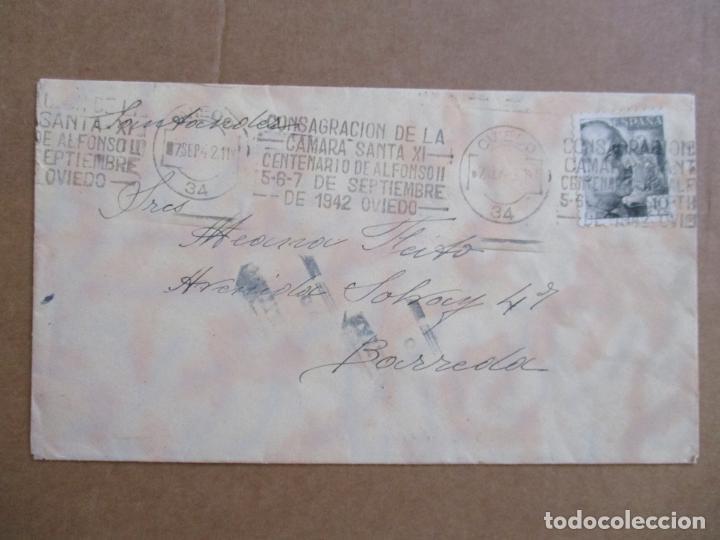 CIRCULADA 1942 DE OVIEDO A BARREDA SANTANDER RODILLO CENTENARIO ALFONSO II (Sellos - España - Estado Español - De 1.936 a 1.949 - Cartas)