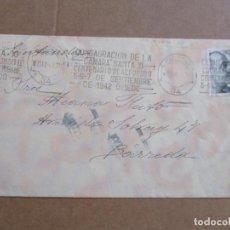 Sellos: CIRCULADA 1942 DE OVIEDO A BARREDA SANTANDER RODILLO CENTENARIO ALFONSO II. Lote 194506960
