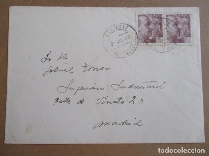 CIRCULADA 1948 DE REAL SOCIEDAD HIPICA MALLORCA DE ALCUDIA BALEARES A MADRID (Sellos - España - Estado Español - De 1.936 a 1.949 - Cartas)