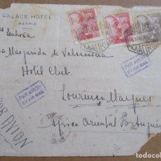 Sellos: FRONTAL CIRCULADA 1948 DE PALACE HOTEL MADRID A HOTEL CLUB AFRICA ORIENTAL PORTUGUESA. Lote 194508215