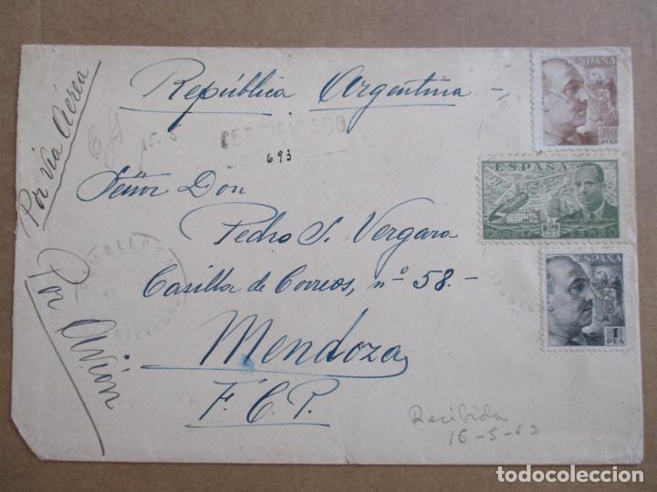 CIRCULADA 1952 DE RAMALLOSA PONTEVEDRA A MENDOZA ARGENTINA EDIFIL 935 (Sellos - España - Estado Español - De 1.936 a 1.949 - Cartas)