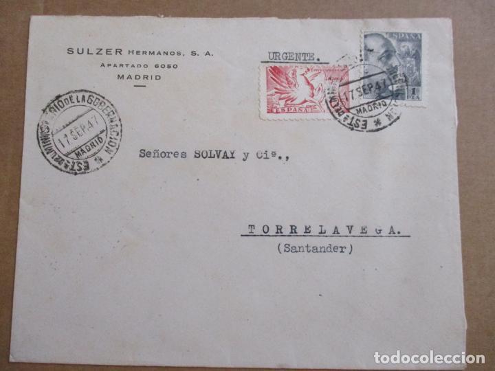 CIRCULADA 1947 DE MADRID A TORRELAVEGA SANTANDER (Sellos - España - Estado Español - De 1.936 a 1.949 - Cartas)