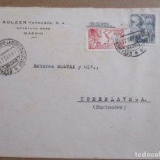 Sellos: CIRCULADA 1947 DE MADRID A TORRELAVEGA SANTANDER. Lote 194509362