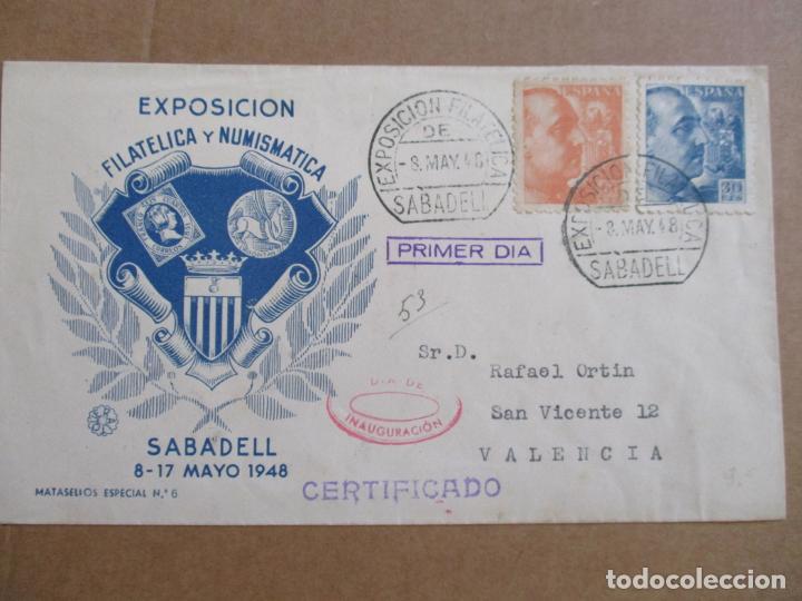 CIRCULADA 1948 DE EXPOFILATELICA DE SABADELL BARCELONA A VALENCIA (Sellos - España - Estado Español - De 1.936 a 1.949 - Cartas)