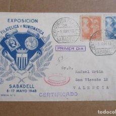 Sellos: CIRCULADA 1948 DE EXPOFILATELICA DE SABADELL BARCELONA A VALENCIA. Lote 194509773